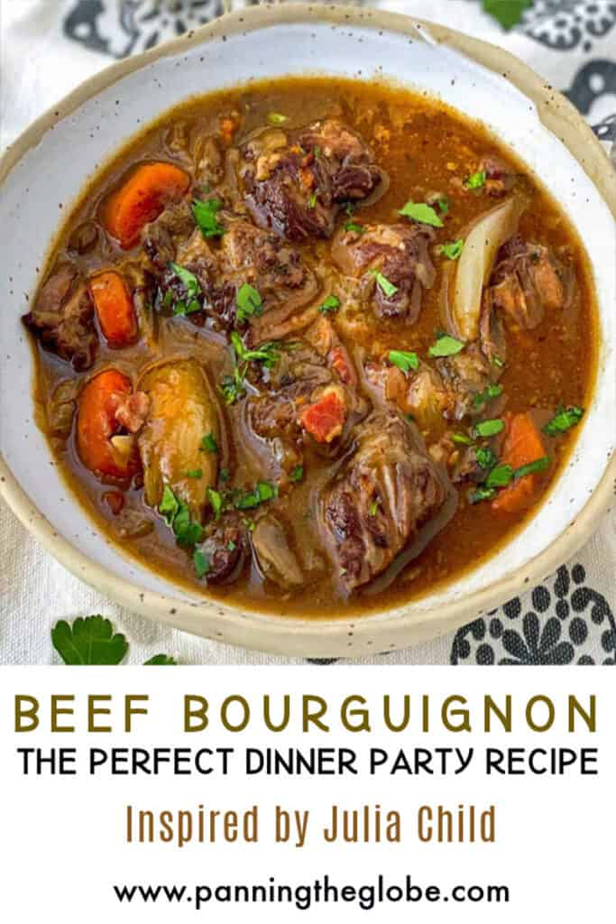 Pinterest pin: beef bourguignon in a white bowl