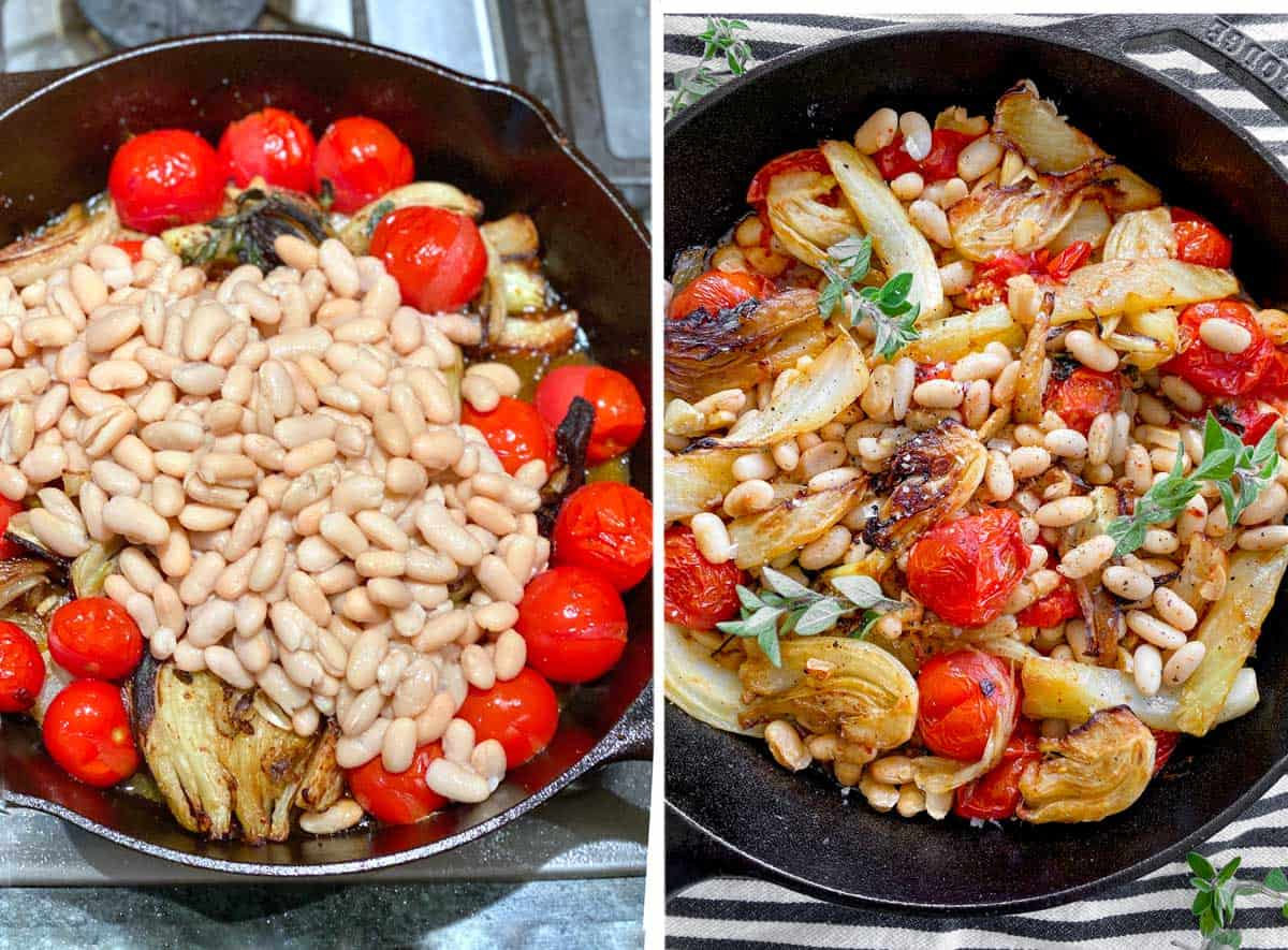 cast iron skillet with roasted fennel and cherry tomatoes, and a pile of canned white beans mounded on top. Next photo shows the same skillet with all ingredients mixed together and three oregano sprigs added as a garnish.