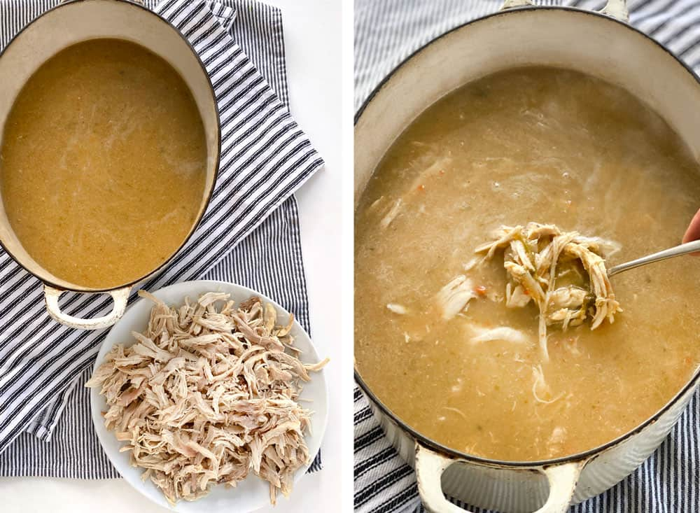 two images, one showing a pot of pureed chicken soup and a plate of shredded chicken, the next showing the shredded chicken in the pot of soup