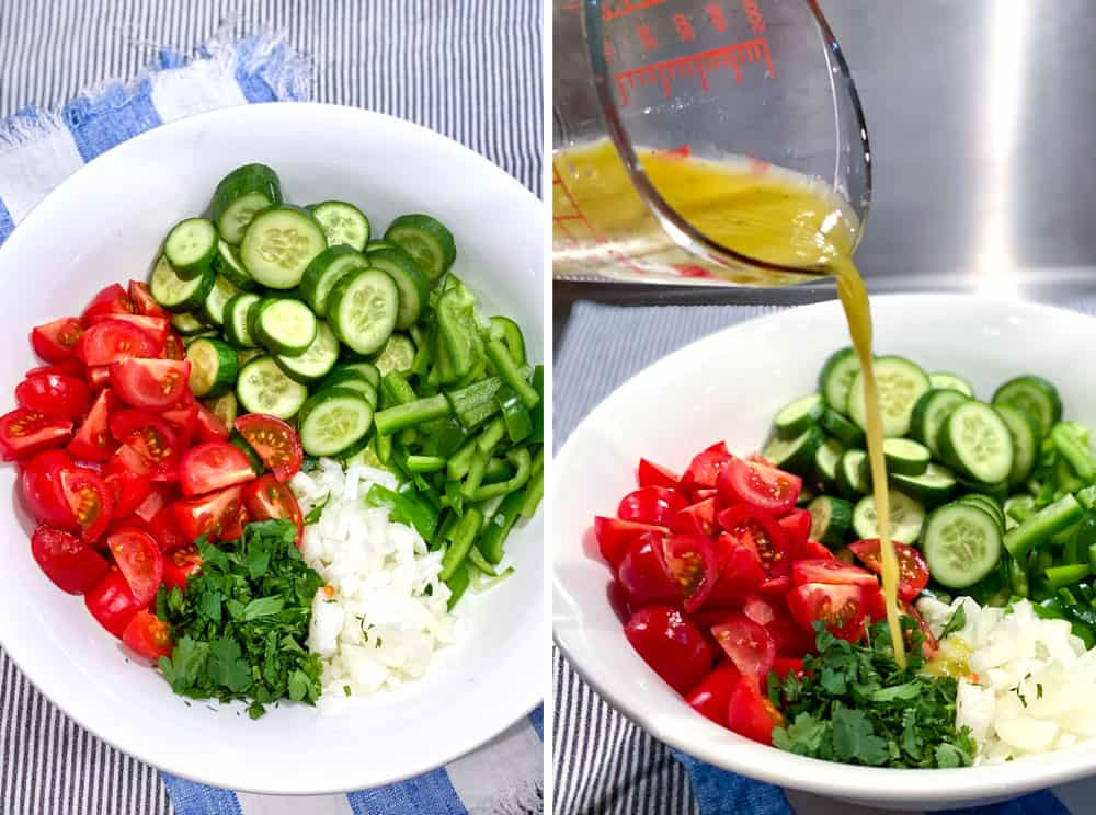ingredients for shirazi salad in a white bowl: Sliced cucumbers, sliced cherry tomatoes, chipped onions and chopped parsley, next shot shows lemon vinaigrette being poured into the bowl