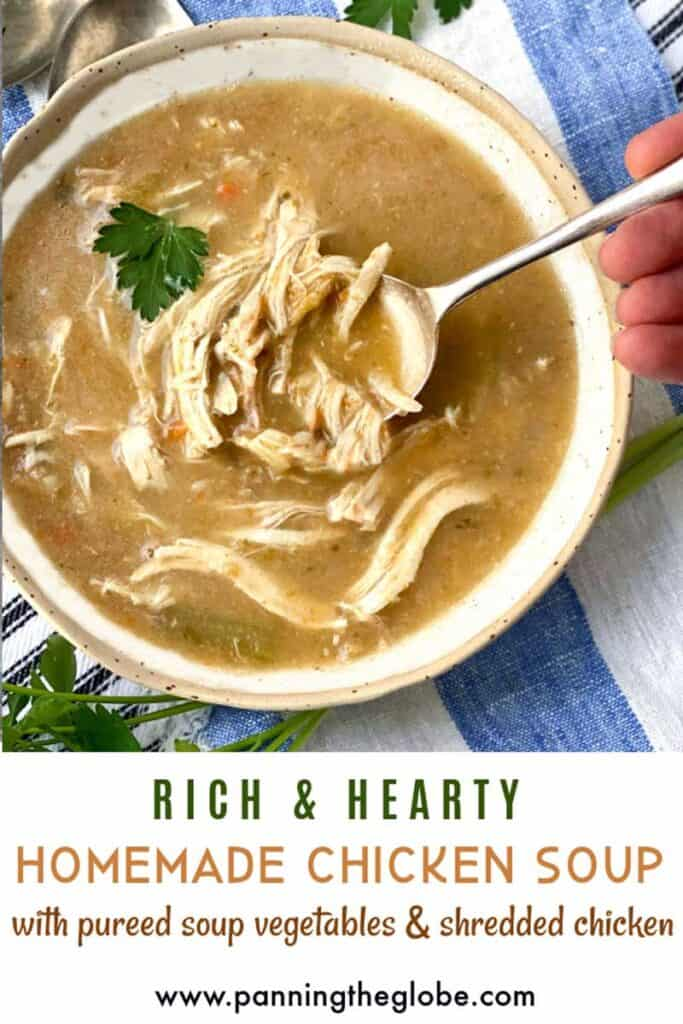 pinterest pin: bowl of chicken soup with shredded chicken