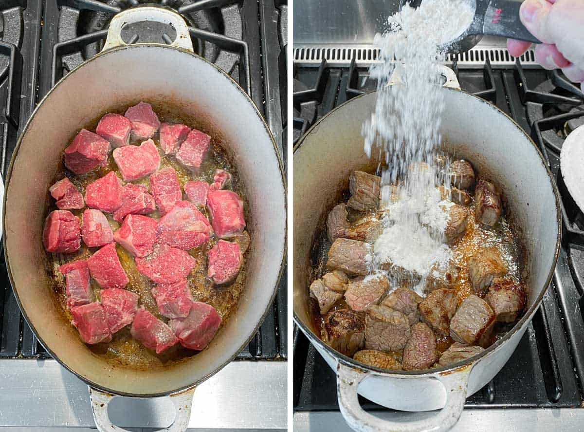 cubes of beef starting to sauté in an oval white dutch oven, next show them all browned and a quarter cup of flour being poured in from above