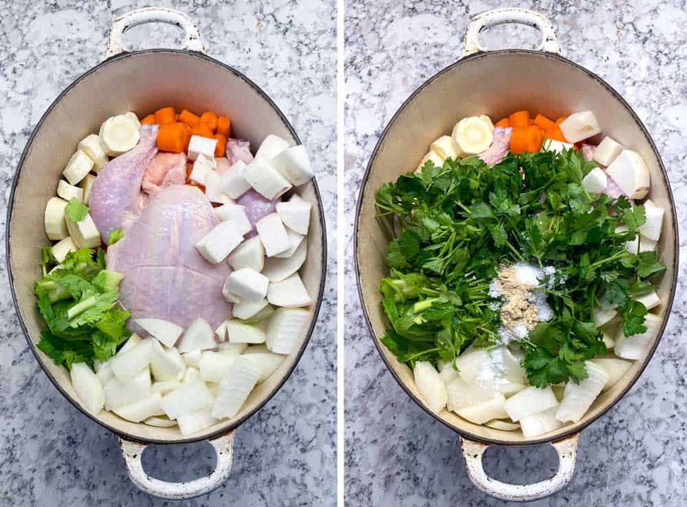 showing a dutch oven with a whole chicken and cut up root vegetables, the next picture shows chopped parsley, salt and pepper added to the pot