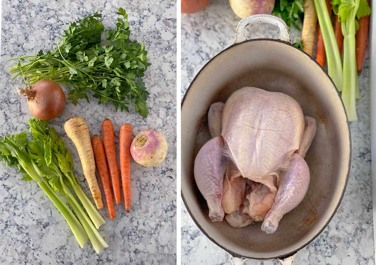 raw ingredients for making chicken soup from scratch: a whole chicken, 3 carrots, 3 stalks of celery, a parsnip, a turnip, an onion and a bunch of parsley