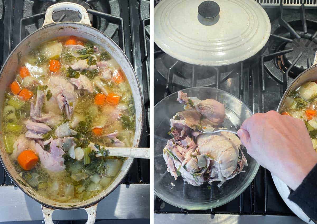 dutch oven shown from above, filled with homemade chicken soup, showing a hand lifting the tender chicken out and into a glass bowl.