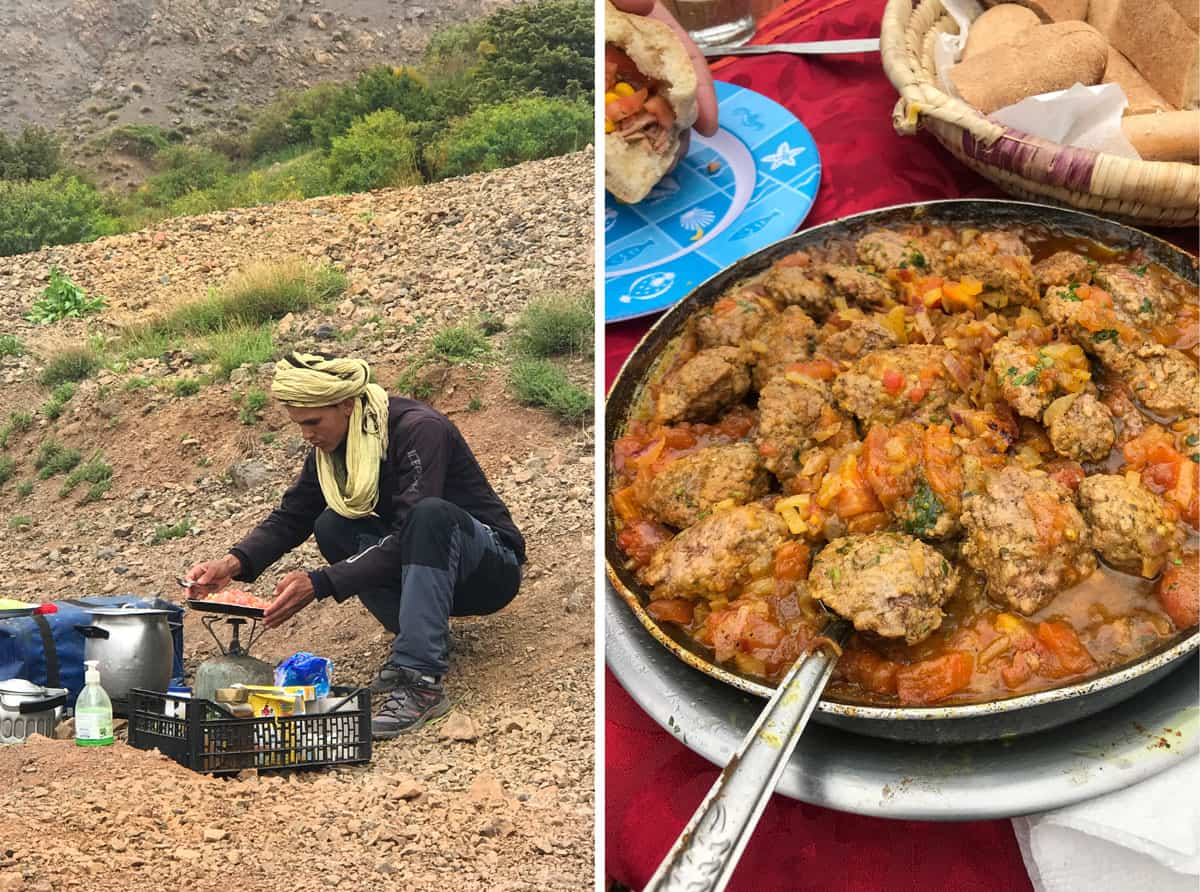 Atlas Mountains trekking guide cooking meatballs over an open fire, close up of the pot of Moroccan meatballs in fresh tomato sauce