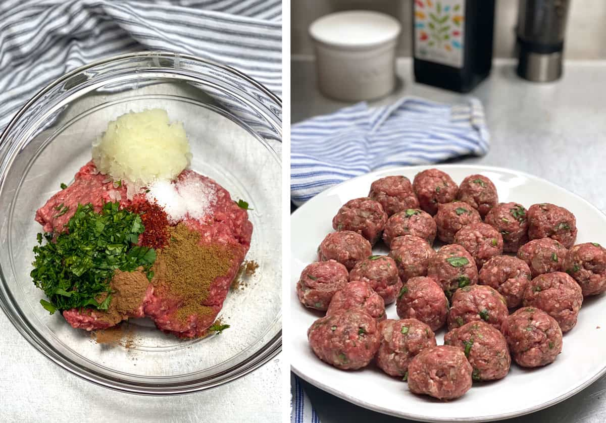 glass mixing bowl filled with raw ingredients for Moroccan meatballs: ground beef, grated onions, chopped cilantro, salt, cumin, and Aleppo pepper, next photo shows a plate of meatballs made from the mixture