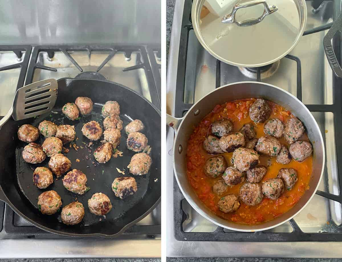 meatballs browning in a cast iron skillet, then a shot of the browned meatballs added to a pot of tomato sauce