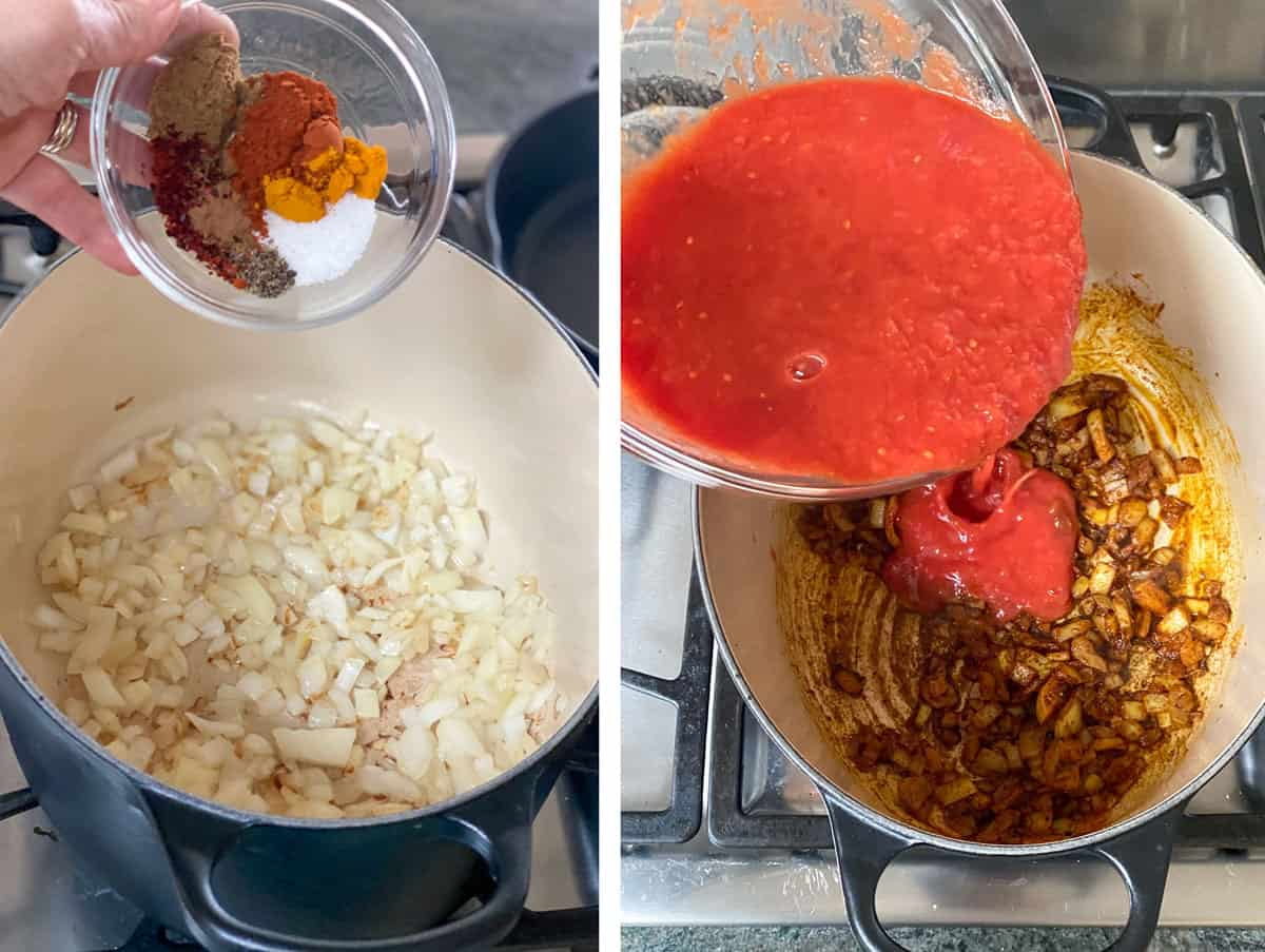 two photos showing how to make moroccan meatballs in tomato sauce, first shows onions sauteeing in a dutch oven and spices about to be poured in, next shows onions mixed with spices and tomato puree about to be poured in