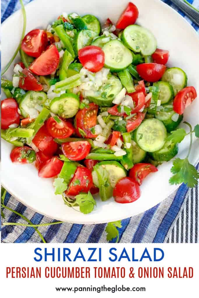 Pinterest pin: white bowl filled with Shirazi cucumber, tomato and onions salad