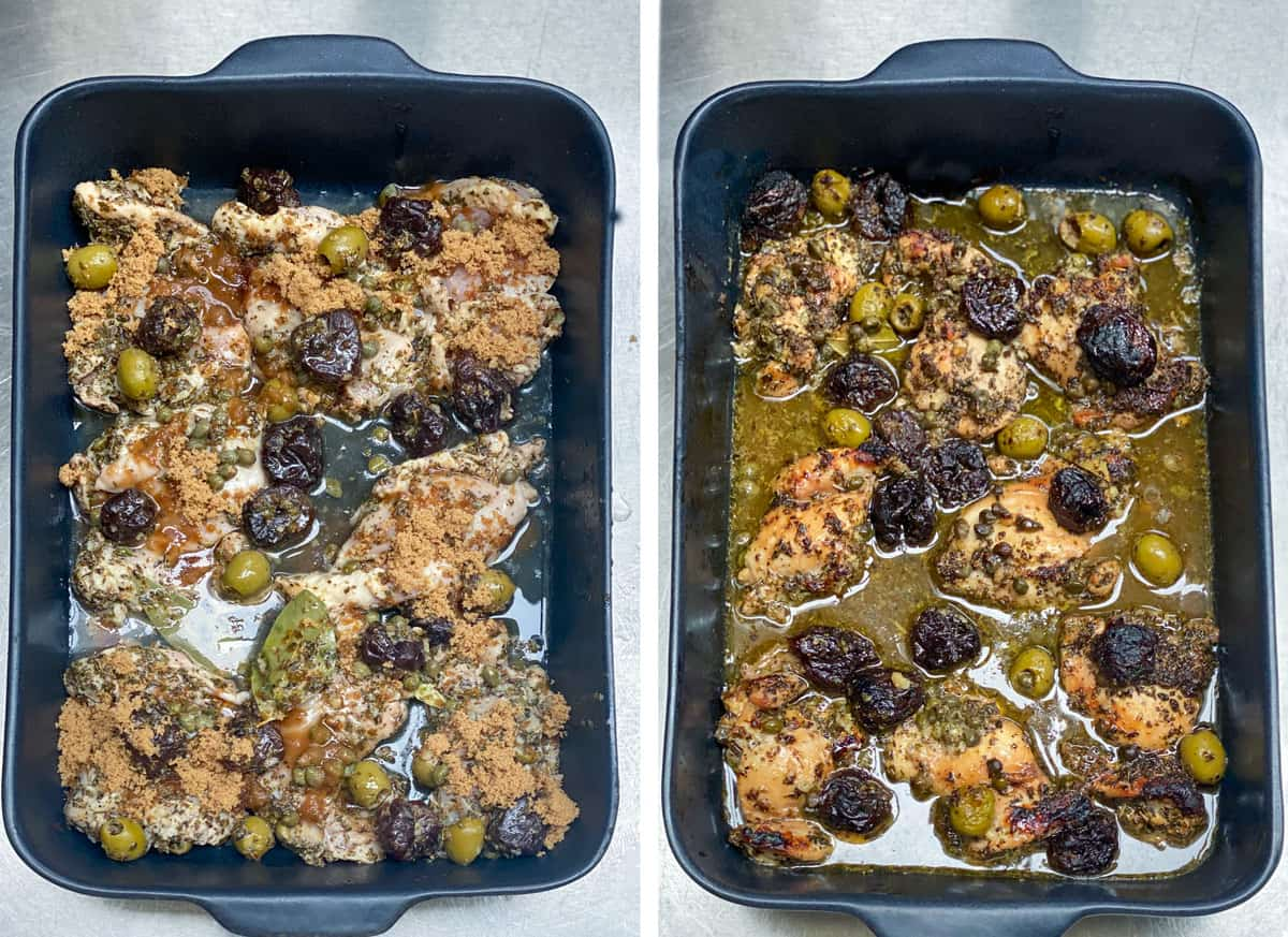 Black roasting pan with chicken marbella about to go into the oven and then a shot of the same pan after it comes out of the oven