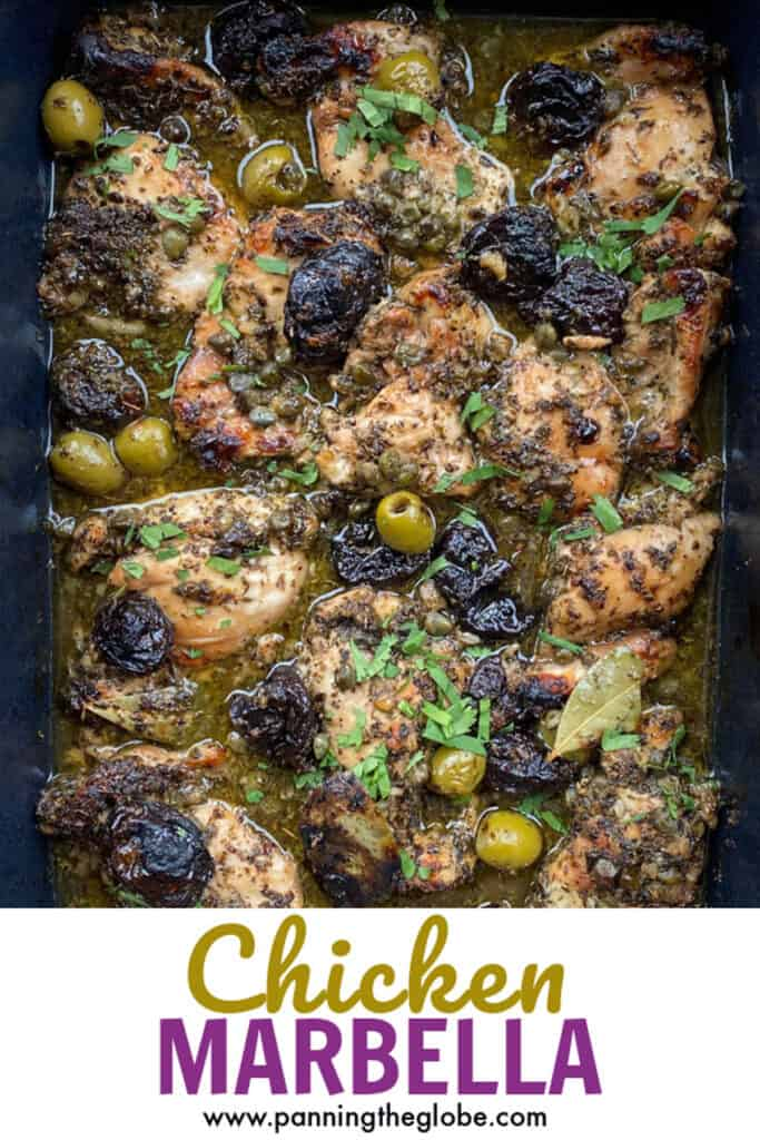 PINTEREST PIN: Chicken Marbella in a black roasting pan