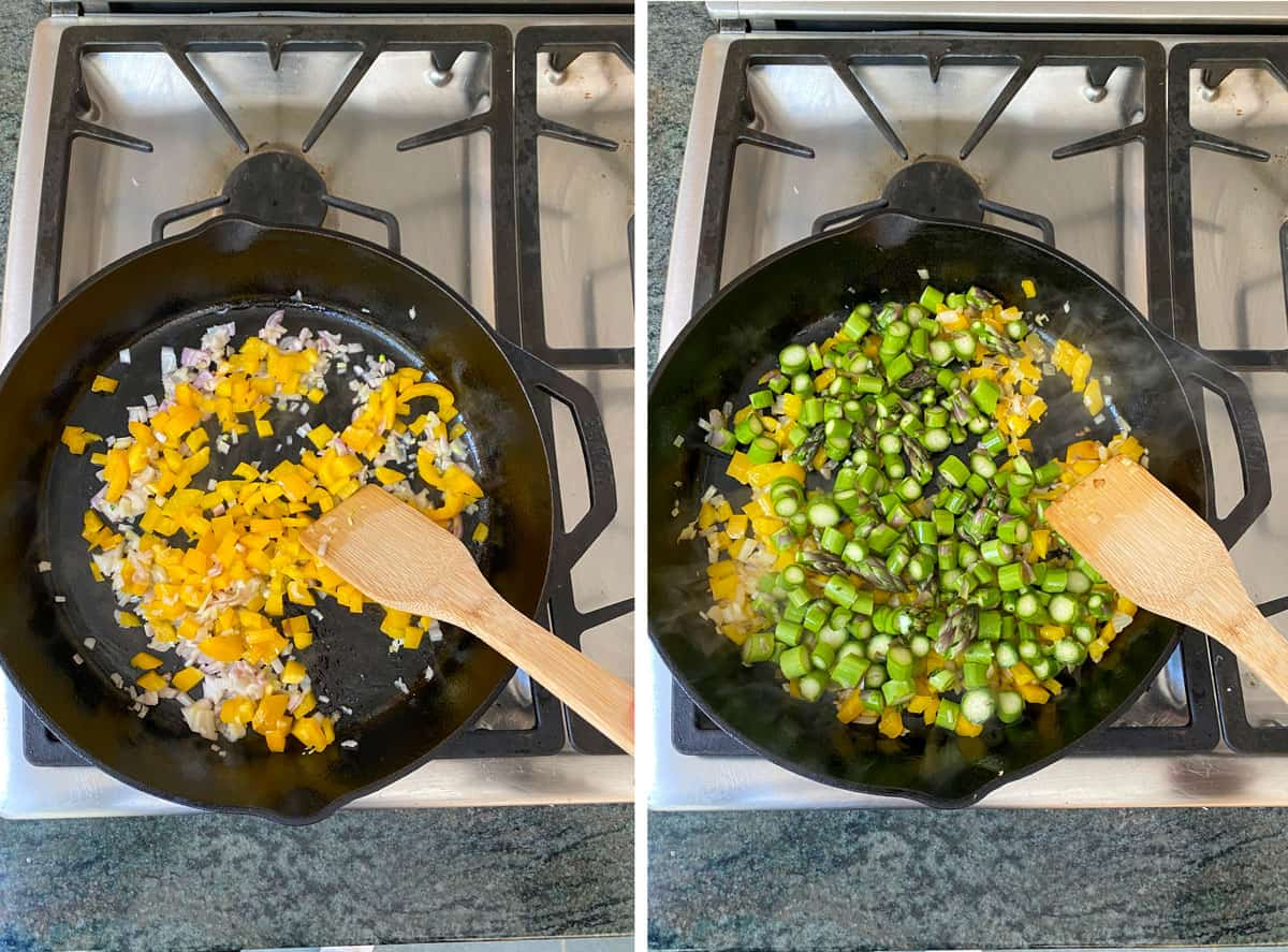 chopped shallots and yellow bell peppers sautéing in a cast iron skillet, next shows chopped asparagus added into the skillet