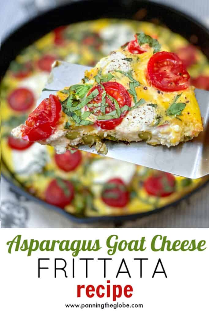 Pinterest Pin: A slice of asparagus goat cheese frittata on a spatula