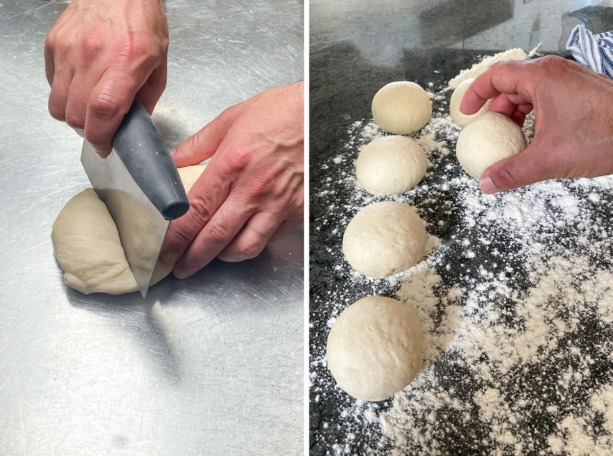 close up of slicing a small piece of dough in half, floured countertop with 5 dough balls on top