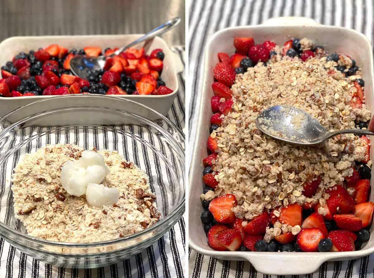 showing how to make a mixed berry crumble with all the berries in a white rectangular baking pan and a glass bowl filled with oats, almond flour and coconut oil, the second photo show the topping being spread over the berries