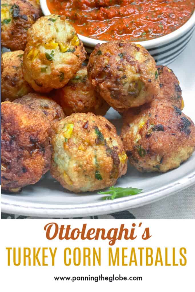 PINTEREST PIN: turkey corn meatballs with red pepper sauce in the background