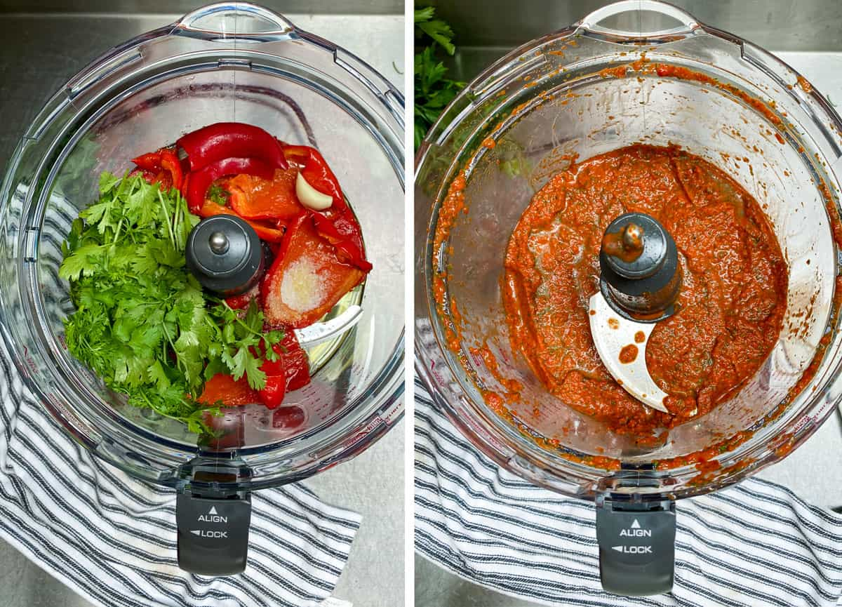 looking down into the bowl of a food processor with roasted peppers, cilantro, garlic and spices, before and after it's pureed.