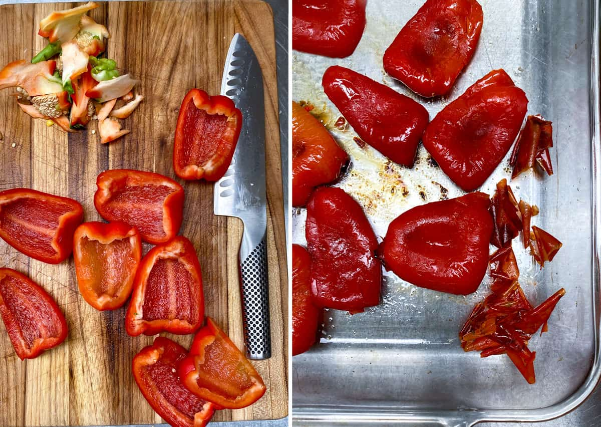 2 red bell peppers seeded and sliced into quarters, then a shot of them after they've been roasted and peeled