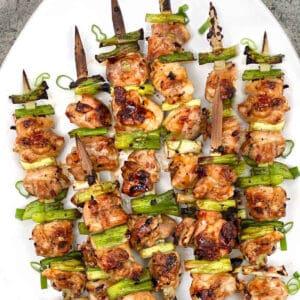 6 chicken yakitori skewers on a white platter
