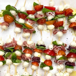 14 mini caprese salad skewers