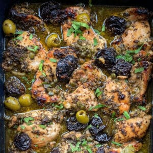 9 pieces of boneless chicken marbella with prunes, olives, capers, gravy and parsley