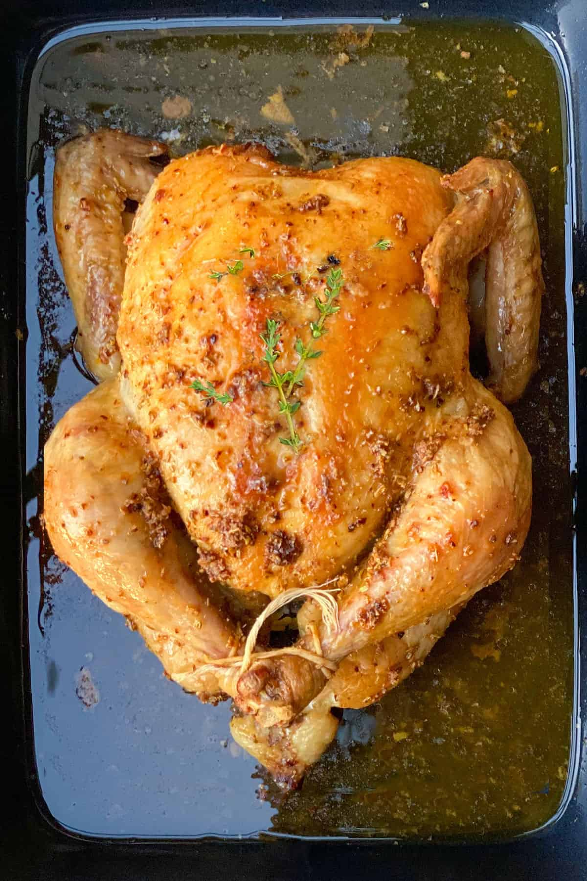 a whole roasted chicken in a black roasting pan with sprigs of thyme on top