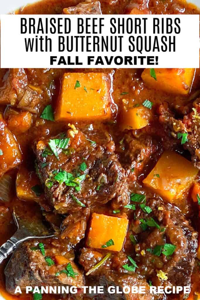 pinterest pin: close up of bite sized pieces of braised short ribs with cubed butternut squash
