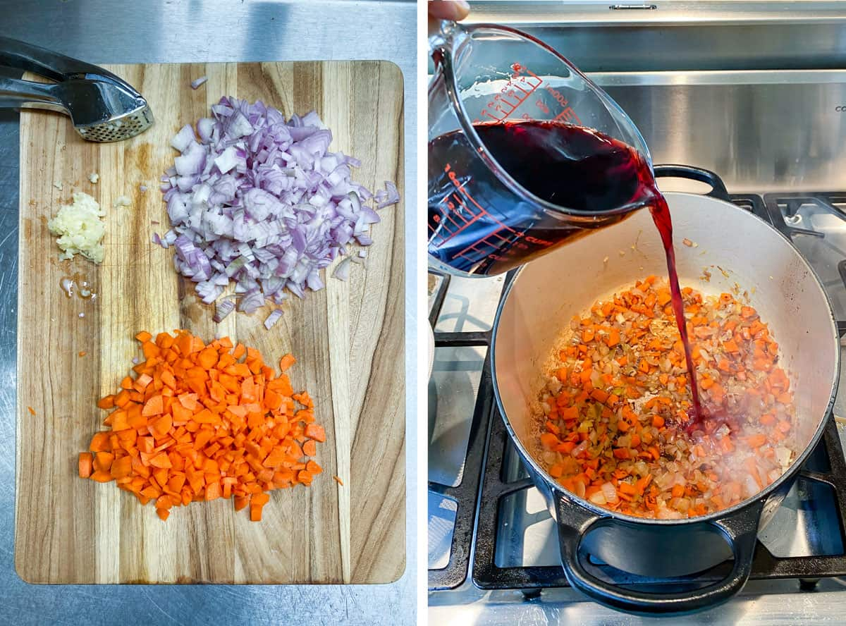 wooden cutting board with a pile of chopped carrots, a pile of chopped red onion and some crushed garlic, then a Dutch oven with the sautéing veggies and red wine being poured in from a glass measuring cup