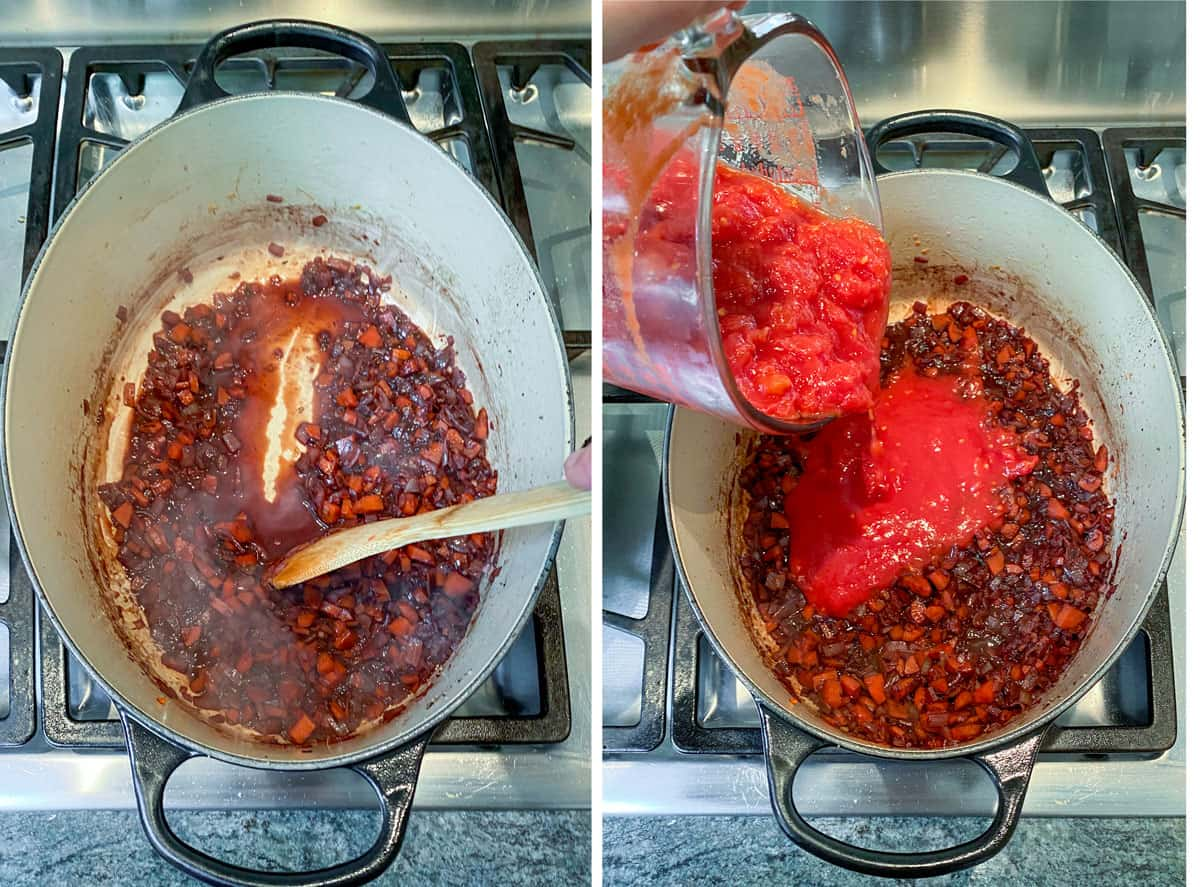 reducing red wine in a Dutch oven with sauteed veggies, then adding chopped tomatoes to the pot