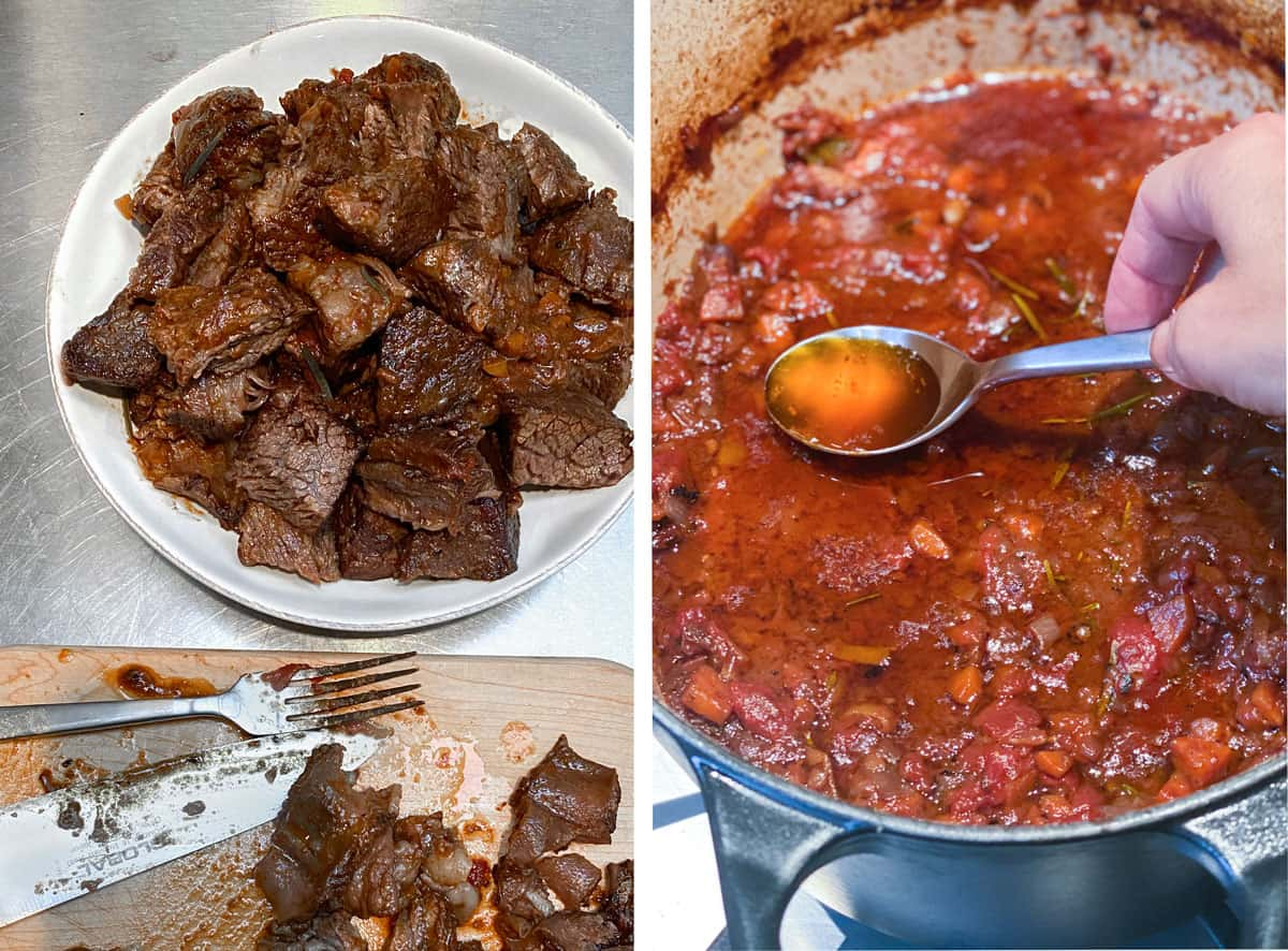 A white bowl filled with cubes of braised short ribs and a Dutch oven filled with short rib braising sauce with a spoon scooping out the fat